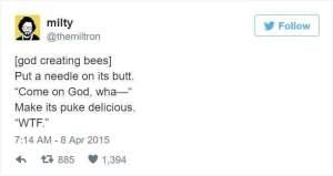 God creating bees
