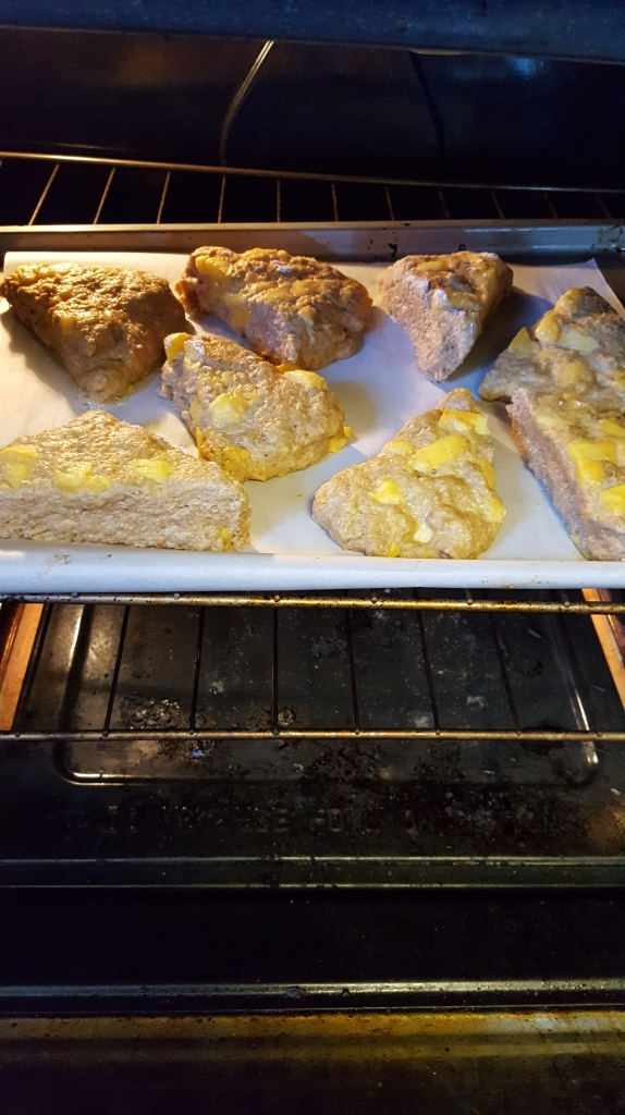 peach scones baking