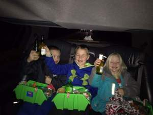 limo kids with sparkling cider